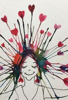 Blowing art birthday card. Hearts