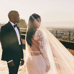 Kim Kardashian and Kanye West - The best celebrity wedding dresses of all time   Harper's Bazaar