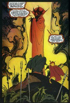 Triumph & Torment, by Mike Mignola, Mephisto, Doctor Strange, Doctor Doom. Comic Book Pages, Comic Book Artists, Comic Book Characters, Comic Artist, Marvel Characters, Comic Books Art, Dr Doom Marvel, Marvel Comics, Marvel Villains