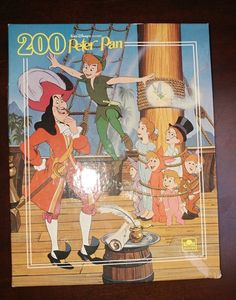 Disney Jigsaw Puzzle Peter Pan Vintage 200 Piece Wendy Tinker Bell Captain Hook #Golden