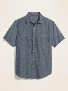 Collarless Shirt Men, Shop Old Navy, Cotton Shorts, Button Up Shirts, Men Casual, Short Sleeves, Mens Tops, Clothes, Outfits