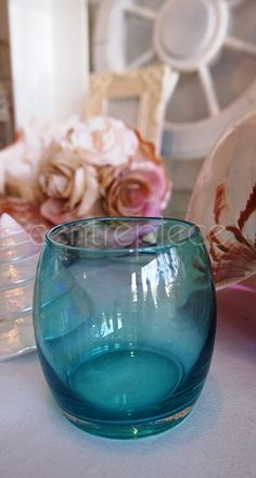 Votive Round Teal & Candle Teal Candles, Tango, Flower Decorations, Wine Glass, Centerpieces, Decorating, Tableware, Flowers, Wedding