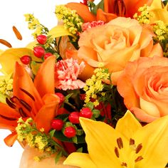 This beautiful bouquet of flowers has autumn shades of yellow, red and orange. Beautiful Bouquet Of Flowers, Fresh Flowers, Shades Of Yellow, Flower Fashion, Autumn, Orange, Fruit, Rose, Plants