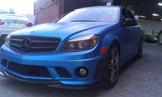 blue metal matt wrap car in mercedes 6.3