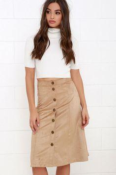Gimme Jive Beige Suede Midi Skirt at Lulus.com!