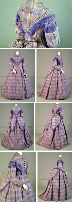 Dress, American (attributed), 1865-69. Lavender taffeta woven in warp ikat flowers, high round neck, purple center front buttons, purple ribbon with rondels across chest in V and fringe, skirt full in back. Belt attached over skirt. Kent State Univ. Museum