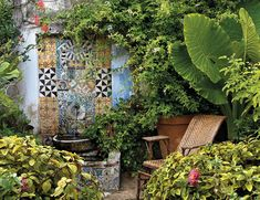 In yet another of his mysterious settings, dense vegetation and a tile encrusted wall inhabit a corner of lush garden in Tangier . Lush Garden, Tropical Garden, Water Garden, Water Pond, Outdoor Rooms, Outdoor Gardens, Outdoor Living, Outdoor Decor, Courtyard Gardens