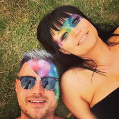 Galaxy face paint for a festival More