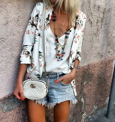 Florals and denim shorts for summer style.