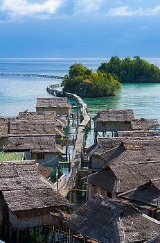 Sulawesi A Bajau stilt village from above,Togean Island, Indonesia
