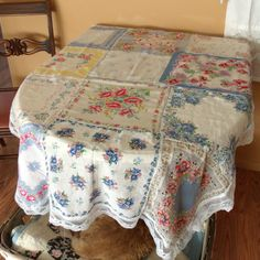 Vintage Hankie Tablecloth Cover Handsewn by SweetRepeatVintage, $27.95