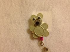 Mouse badge holder from Medication vial tops/buttons