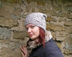 Gray bobble slouchy hat, Merino chunky beanie with nupps, One of a kind gifts…