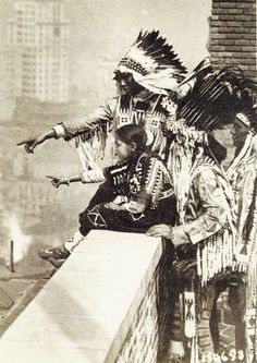 Blackfoot Indians atop a Hotel in Downtown New York City in 1915
