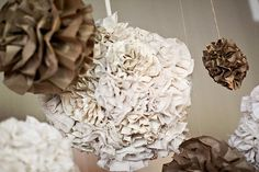 brown and creme wedding poms