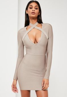 Missguided - Peace Love Grey Premium Bandage Ribbed Mini Dress Pho f789f1e5a