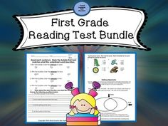 WEEKEND SALE~This HUGE 1st Grade Reading Assessment Pack is 12-two page tests (each with it's own answer key) that focuses on:    *phonics    *comprehension strategies    *language usage    **Bonus challenge portion included on each test to raise the bar      on learning- Higher Order Thinking Skills Encouraged!This bundle saves you 50% over buying them individually!!!