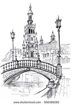Plaza of Spain in Seville, Andalusia, Spain, Europe Travel sketch Hand drawn book illustration, touristic postcard or poster - Books City Art, Pictures, Architecture Sketchbook, Art And Architecture, Architecture Drawing Sketchbooks, City Drawing, Travel Sketches, Art Drawings Sketches, How To Draw Hands