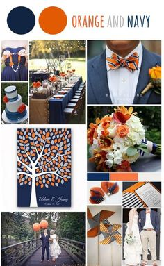 Tableau d'inspiration couleur orange et bleu marine Mood board orange and navy  www.around-the-wedding.blogspot.be