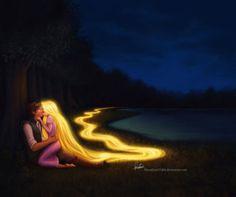 Tangled. Flynn (Eugene) and Rapunzel.
