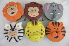 Jungle cupcakes-too cute! Zoo Animal Cupcakes, Tiger Cupcakes, Jungle Cupcakes, Jungle Cake, Animal Cakes, Elephant Cupcakes, Jungle Party, Fondant Toppers, Fondant Cupcakes