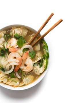 Asian Noodle Soup with Shrimp and Wontons - a quick Asian soup recipe