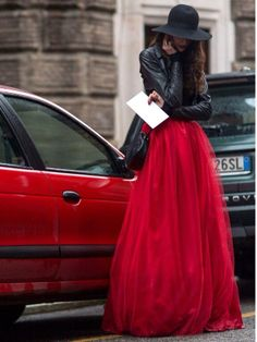 Red tulle drama #pfw