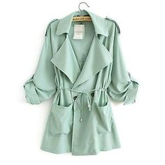 Trench coat in mint. You can never have enough trenchcoats. Green Trench Coat, Long Trench Coat, Green Parka, Trench Jacket, Belted Coat, Look Fashion, Autumn Fashion, Womens Fashion, Green Fashion