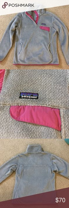 Patagonia Women's Re-Tool Snap-T Pullover Patagonia Re-Tool Snap-T pullover in Grey and pink. Perfect condition and just like new. Patagonia Jackets & Coats