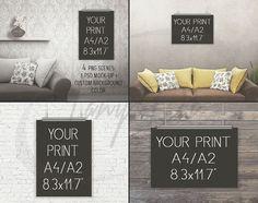 A4 A2 Portrait & Landscape Poster Mockups, Metal Clips for Hanging Poster, Print dislplay, PNG PSD PSE, Bricks Wood Sofa, Custom bg color