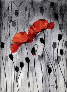 yellow flowers, poppies, water color paintings | Poppy Fresco - watercolour print art black red painting flower poppy ...