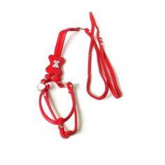 harnais laisse pour chien en cuir rouge M