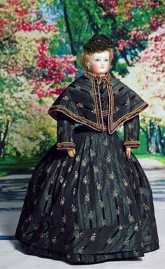 French Bisque Poupee In Original Gown And Wig. Marks: