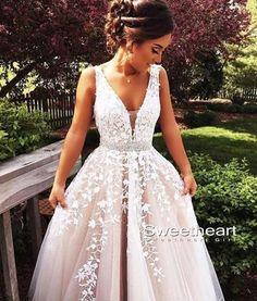 white V neck lace tulle long prom dress, formal dress,white lace wedding dress