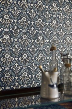 Bellflower wallpaper design by Morris in a lovely indigo blue.