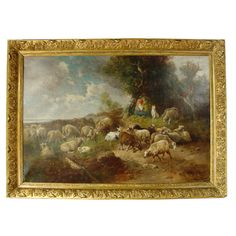 Large Antique Pastoral Oil Painting on Canvas-Henry Schouten | 1stdibs.com
