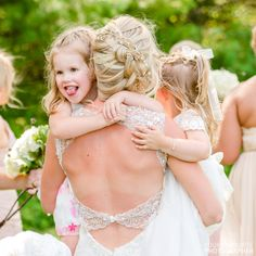 Young girl sticking out her tongue with a bride Tangled, Garden Wedding, Vows, Flower Girl Dresses, Weddings, Bride, Wedding Dresses, Beautiful, Fashion