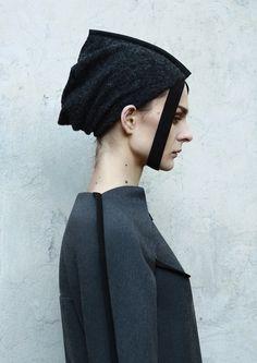 DZHUS AW15 Interflow Shirt and Loop Beanie #dzhus #design #fashion #headpiece #hat #headwear #conceptualfashion #edgyfashion #ukrainiandesigner #avantgardefashion #avantgarde #avantgardewomenswear #conceptualwear #conceptualclothing #minimal #totalblack #allblack #darkwear #monochrome #architecturalfashion #construction #structured #complexcut #geometry #angular #complexcut #pleats #futuristic #designer #fashionbrand #trend #industrial #concrete #brutalism #intellectualfashion