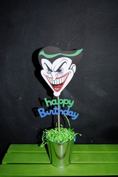 Hey, I found this really awesome Etsy listing at https://www.etsy.com/listing/126934774/joker-cake-topper-with-happy-birthday