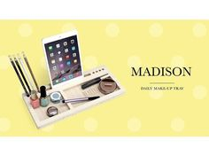 Plateau de maquillage élégant moderne et station d'accueil pour iPhone, iPad...