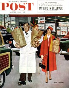 'Sack Full Of Trouble' cover art for Saturday Evening Post by Dick Sargent Vintage Ads, Vintage Images, Vintage Soul, Vintage Magazines, Vintage Labels, Painting Prints, Canvas Prints, Norman Rockwell Art, Vintage Housewife
