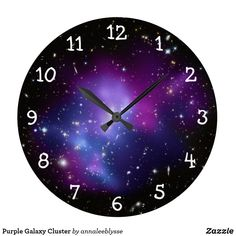 Galaxy cluster wall clock - large and purple - perfect for space lovers - immerse in the white numbers against a space image! Theme Galaxy, Galaxy Decor, Living Room Decor Purple, Purple Rooms, Teen Girl Bedrooms, Bedroom Themes, Zen Bedroom Decor, Bedroom Wall, Wall Decor