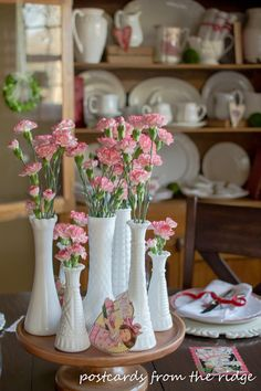 Home Decor For Small Spaces Vintage Milk Glass Vases with Mini Carnations.Home Decor For Small Spaces Vintage Milk Glass Vases with Mini Carnations Farmhouse Table Centerpieces, Wedding Table Centerpieces, Table Decorations, Hurricane Centerpiece, Farmhouse Decor, Graduation Centerpiece, Quinceanera Centerpieces, Candle Centerpieces, Modern Farmhouse