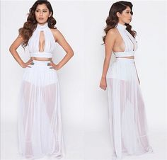 Chiffon Crop Top Long Chiffon Skirt 2 Piece Set Outfit Beach Club Dress