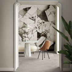 Ceramica del Conca Bloom: acquerello in un mix di marmi Industrial Chic, Terrazo, Black And White Marble, Marble Effect, Shades Of Black, Porcelain Tile, Oversized Mirror, Tiles, Bloom