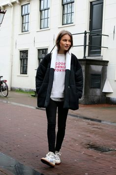 Parka with sneakers