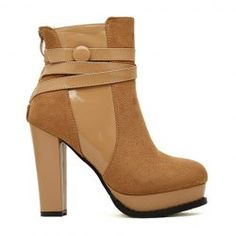 $24.19 Stylish Women's Short Boots With Splice anf Button Design