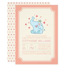 Cute Baby Elephant | Typography Baby Shower Card - baby gifts child new born gift idea diy cyo special unique design