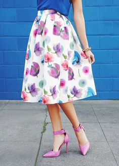 Posie On Over Ivory Floral Print Midi Skirt