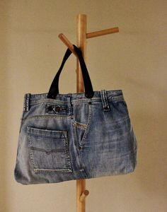 ON SALE Upcycled Jean TOTE Bag Blue Jean Bag by Annas7Closet